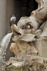 Fontana del Pantheon at the square Rotonda in Rome, Italy.