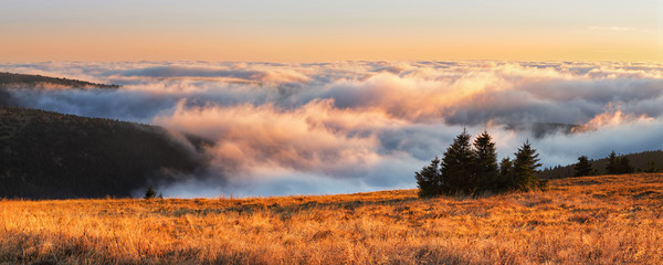 Autumn temperature inversion in Jeseniky mountains, Praded, Czec