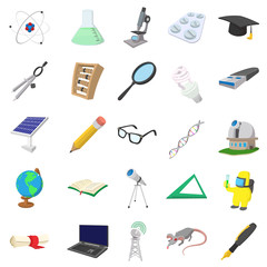 Science icons set, cartoon style