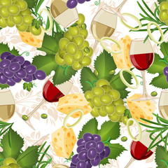 Seamless pattern with fruit organic food, glasses, wine, grapes. Seamless background with cucumber, onions, tomato. illustration