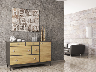 Wooden cabinet against of concrete wall 3d render