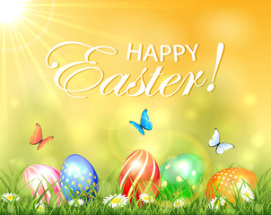 Easter background with Sun and eggs in grass