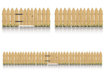Seamless elements of wooden fence with gate