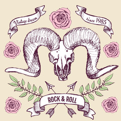 Poster with goat's skull, ribbons and roses