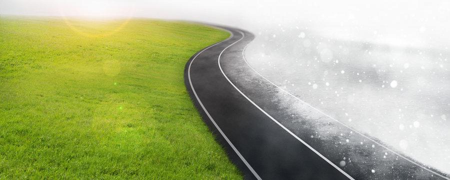 Road between winter and summer