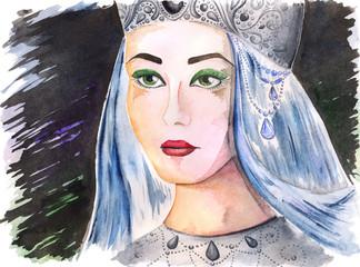 Watercolor portrait of beautiful queen princess girl