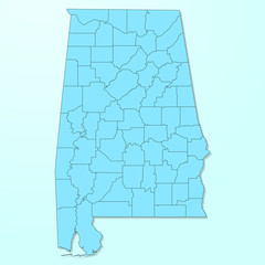 Alabama blue map on degraded background vector