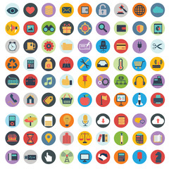 Flat icons design modern vector illustration big set of various financial service items, web and technology development, business management symbol, marketing items and office equipment on background.