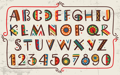 Tribal ethnic bright vector alphabet and number