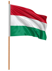 3D Hungarian flag with fabric surface texture. White background.