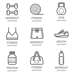 Fitness and GYM line art icon set Vol.2.