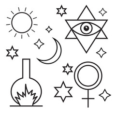 Alchemy, spirituality, occultism, chemistry, magic symbols