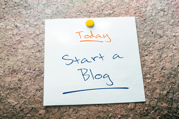 Start A Blog Reminder For Today On Paper Pinned On Cork Board