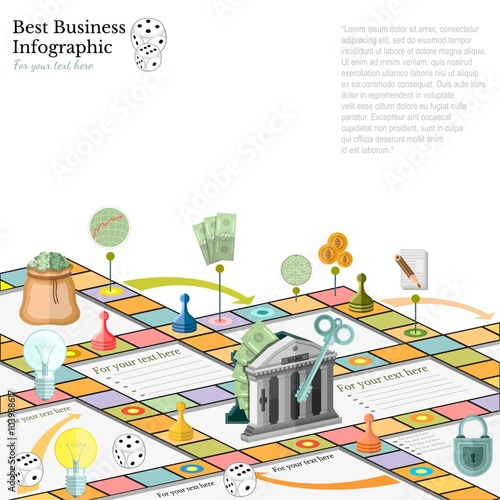 Flat Business Infographic Background With Finanial Board Game Game