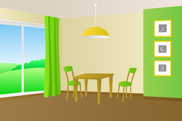 Kitchen room interior table chair window illustration vector