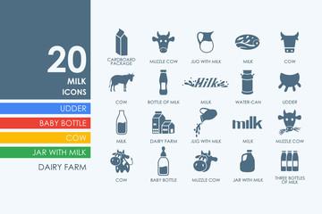 Set of milk icons