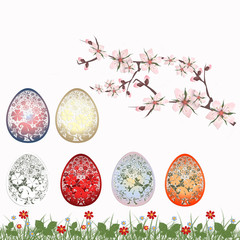 Easter set with traditional eggs. Traditional detailed eggs, flo