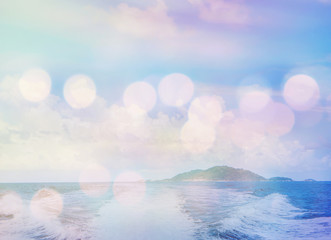 Island and ocean with soft focus, vintage filter effect