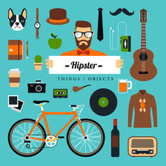Vector Flat Icons Design Things about Hipster.