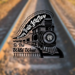 train background with old locomotive with wagons and text happy train journey in smoke label on rails blur photo