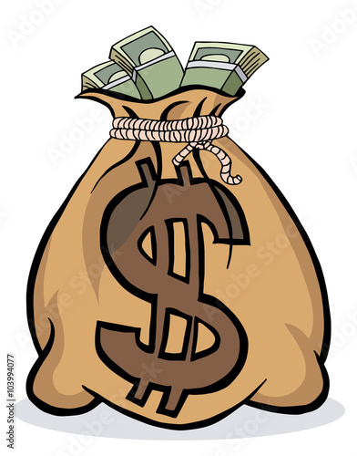 "Bag With Money Sign Cartoon: ""Big Money Bag"" Stock Image And Royalty-free Vector Files"