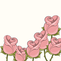 Roses background for cards or invitations . Vector