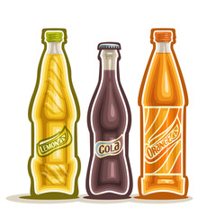 Vector illustration on the theme of the logo for carbonated drinks, consisting of three closed glass bottles with soda beverages on a white background