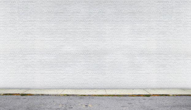 White brick wall on the street