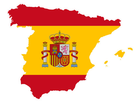 Spain map with flag vector illustration