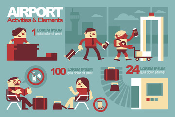 Vector Illustration Inside The Airport, Activities and Elements.