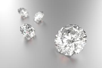 Luxury diamonds on white background