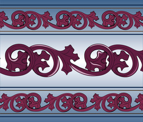 Classic royal style ornament pattern in blue and magenta. Vector