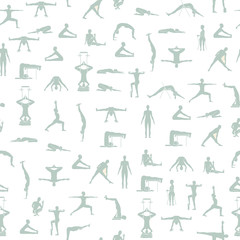 Yoga poses pattern in vector
