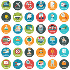 Modern flat icons vector collection  in stylish colors of web design objects, business, office and marketing items