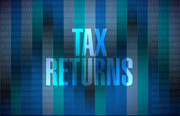 tax returns binary background sign concept