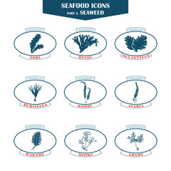 Seaweed icons set