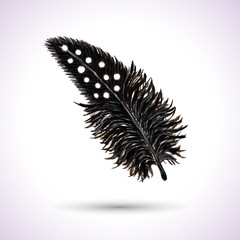 Black Spotty Watercolor Feather