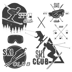 Vector set of mountain skiing labels in vintage style. Alpine ski extreme sport concept.