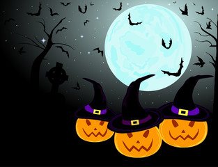 Three beautiful smiling pumpkins on the full moon background with bats, vector Halloween background