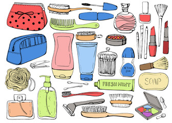 Cosmetics and shower accessories for skin