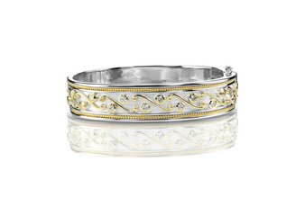 Decorated Duotone Bracelet with white gold and silver isolated on white