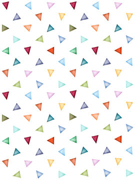 Abstract pattern of colorful watercolor triangles. Pastel colors. Hand painted geometric pattern.Perfect for background, texture,wrappering paper, wallpaper, print, textile,scrapbooking and more