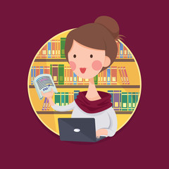 Vector Illustration of a College Girl Student Studying in Library, Cartoon Character