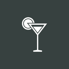 Glass icon, on dark background, white outline, large size symbol