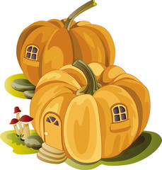 pumpkin house. vector illustration