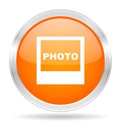 photo orange silver metallic metallic chrome web circle glossy icon