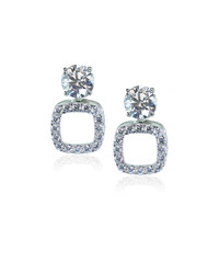Diamond drop square earrings isolated on white