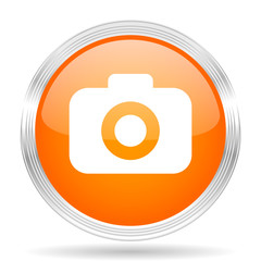 photo camera orange silver metallic metallic chrome web circle glossy icon