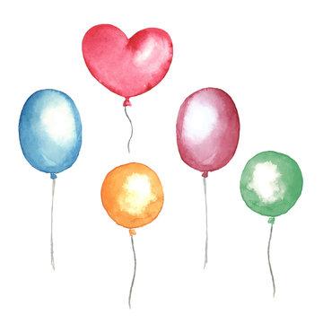 Balloons. Watercolor set in vector