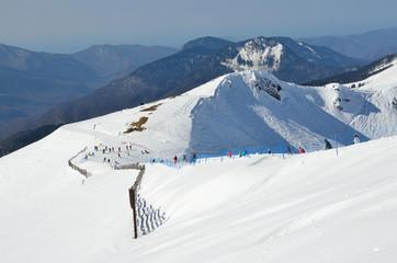 Россия, Сочи, склоны горнолыжного курорта Роза Хутор